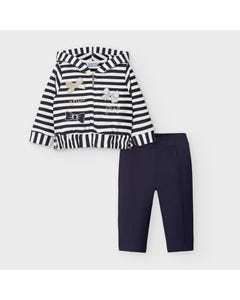 Mayoral Girls 2 Pc Track Suit Navy & White Striped Hooded Cardigan Size 6m-36m | Baby Co Ord Sets 2892 Navy