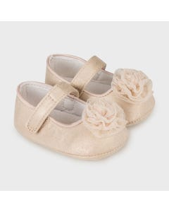 Mayoral Girls Shoe Golden Mary Jane Tulle Rose Trim Size 15-19 | Toddler Shoes 9339 Gold