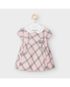 Mayoral Girls Dress Rose & Grey Plaid White Collar Size 3m-18m | Dresses For Infants 2870 Pink