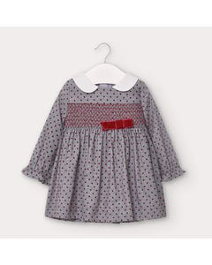 Mayoral Girls Dress Grey Flannel Red Dots & Bow & Smocking Trim Long Sleeve Size 6m-36m | Dresses For Babies 2956 Grey
