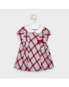 Mayoral Girls Dress Red & Grey Plaid White Collar Size 3m-18m | Infant Dresses 2870 Plaid