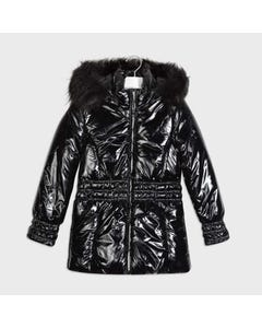 Mayoral Girls Coat Black Metalic Hooded Removable Fur Trim Size 8-18   Outerwear For Baby Girls 7416 Black