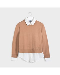 Mayoral Girls Sweater Brown Mock Blouse Cream Chiffon Size 8-18 | Toddler Girl Sweaters 7329 Brown