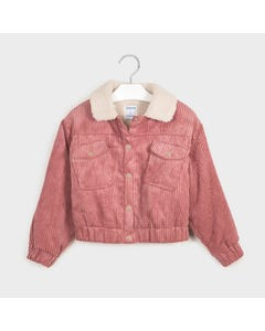 Mayoral Girls Jacket Rose Corduroy Fleece Collar & Lining Size 8-18 | Baby Girl Outerwear 7407 Pink