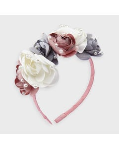 Mayoral Girls Headband Blush Pearl & Flower Applique Size OS | Toddler Girl Hair Accessories 10912 Pink