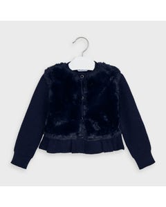 Mayoral Girls Cardigan Navy Furry Knit Button Closure Size 2-9 | Baby Girl Sweaters 4353 Navy