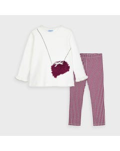 Mayoral Girls 2 Pc Sweater Legging Set Red & White Print Petal Purse Applique Size 2-9 | Girls Two Piece Sets 4723 Red