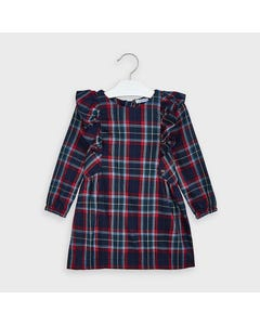 Mayoral Girls Dress Navy Plaid Long Sleeve Frill Trim Size 2-9 | Kids Dress For Girls 4977 Plaid