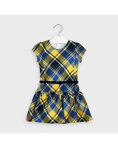 Mayoral Girls Dress Navy & Yellow Plaid Navy Velvet Belt Size 2-9 | Baby Girl Dresses 4974 Plaid