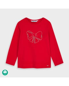 Mayoral Girls Tshirt Red Bow Print Long Sleeve Size 2-9 | Girls Shirts 178 Red