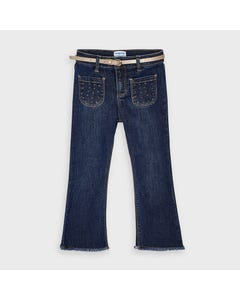 Mayoral Girls 2 Pc Jean & Belt Flared Gold Belt & Dots Embroidery Size 2-9 | Shorts For Girls 4549 Denim
