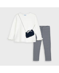 Mayoral Girls 2Pc Sweater Legging Set White & Navy Print Petal Purse Applique Size 2-9 | Girls Two Piece Outfits 4723 Navy
