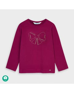 Mayoral Girls Tshirt Cherry Gold Bow Print Size 2-9 | Shirts For Girls 178 Red