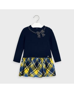 Mayoral Girls Dress Navy Knit & Yellow Navy Plaid Skirt Size 2-9 | Girls Party Dresses 4961 Navy