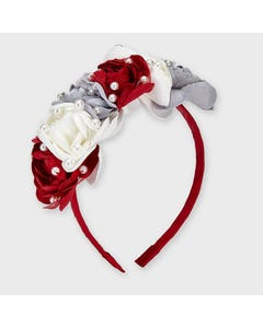 Mayoral Girls Headband Red Pearl & Flower Applique Size OS | Baby Girl Hair Accessories Online 10912 Red