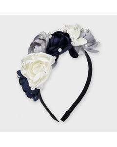 Mayoral Girls Headband Navy Pearl & Flower Applique Size OS | Girls Hair Accessories 10912 Navy