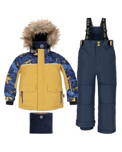 Deux par Deux Boys 2 Pc Snowsuit Yellow Blue Print Removable Hood & Fur Trim Size 2-6 | Snowsuits For Toddlers C10N812 Yellow