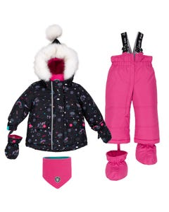 Deux par Deux Girls 5 Pc Snowsuit Black Print Pink Pants Size 12m-36m | Infant Girls Outerwear C10D504 Black