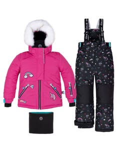 Deux par Deux Girls 3 Pc Snowsuit Pink Top & Black Print Pant Unicorns Size 2-6 | Infant Girls Outerwear C10D804 Pink