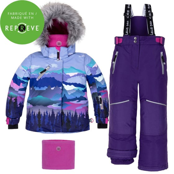 Deux par Deux Girls 3 Pc Snowsuit Blue Print Purple Pant Size 2-14 | Gitls Outerwear C10H808 Multi