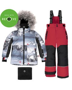 Deux par Deux Boys 3Pc Snowsuit Grey Print & Red Pants Alpine Print Size 2-14 | Outerwear For Baby Boys C10Q815 Grey