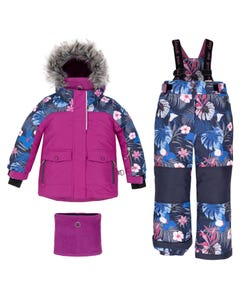 Deux par Deux Girls 3 Pc Snowsuit Purple Floral Trim Removable Hood Size 2-14 | Outerwear For Girls 10C803 Purple