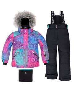 Deux par Deux Girls 3 Pc Snowsuit Multi Pattern Print Black Pants Removable Hood Size 2-14 | Girls Outerwear 10E805 Multi