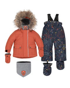 Deux par Deux Boys 5 Pc Snowsuit Orange Black Multi Printed Pant Removable Hood Size 12m-36m | Outerwear For Boys 10K509 Orange