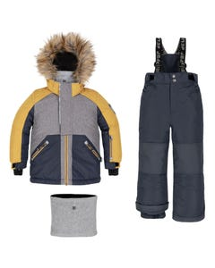 Deux par Deux Boys 3 Pc Snowsuit Grey Navy & Yellow Navy Pant Removable Hood Size 2-14 | Boys Outerwear 10K810 Grey