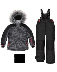 Deux par Deux Boys 3 Pc Snowsuit Black Forest Print Black Pant Removable Hood Size 2-14 | Outerwear For Boys 10P814 Black