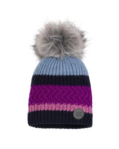Deux par Deux Girls Knit Hat Blue&Navy & Purple & Pink Fur Pom Pom Size 4-14 | Baby Girl Hats 10ZC01 Multi