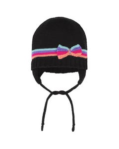 Deux par Deux Girls Knit Hat Black Multi Colored Bow & Stripe Trim Neck Tie Size 6-14 | Infant Girl Hats 10ZD02 Black