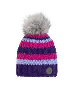 Deux par Deux Girls Knit Hat Pink & Purple & Blue Cablestitch Fur Pom Pom Size 4-14 | Baby Girl Hats 10ZH01 Multi
