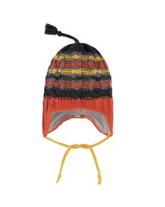 Deux par Deux Boys Knit Hat Orange Earflaps Grey & Yellow Stripe Size 12m-4 | Toddler Hats 10ZK02 Orange