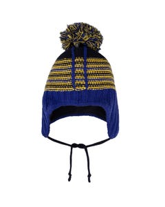 Deux par Deux Boys Knit Hat Blue Earflaps Yellow Stripe Size 4-8 | Kids Boy Hats 10ZN02 Blue