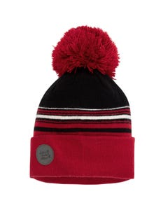 Deux par Deux Boys Knit Hat Red & Black Red Pom Pom Size 4-14 | Toddler Boy Hats 10ZQ01 Red