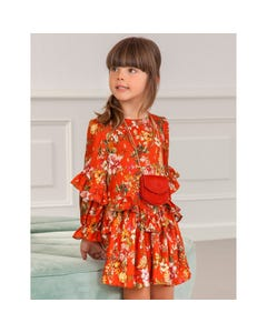 Abel & Lula Girls Dress Orange Floral Print Flounce Trim Size 4-14 | Girls Dresses 5555 Orange