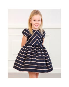 Abel & Lula Girls Dress Navy Jacquard Pink Shimmer Stripe Bow Trim Size 4-12 | Baby Girl Dresses 5566 Navy