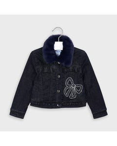 Mayoral Girls Jacket Denim Dark Bow Applique Removable Fur Collar Size 2-9 | Girls Coats 4406 Denim