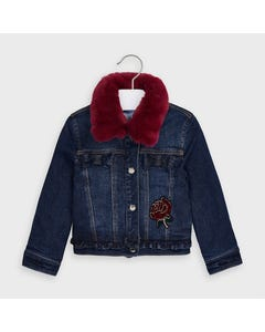 Mayoral Girls Jacket Denim Red Rose Applique And Removable Fur Collar Size 2-9 | Baby Girl Coats 4406 Denim