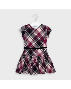 Mayoral Girls Dress Red & Navy Plaid Navy Velour Belt Short Sleeve Size 2-9 | Girls Party Dresses 4974 Plaid