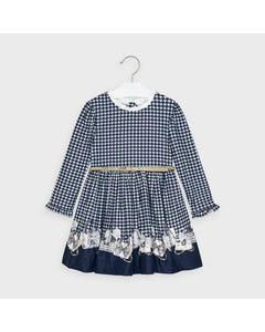 Mayoral Girls Dress & Belt Navy & White Print Gold Belt Purse Print Hem Size 2-9 | Kids Dress For Girls 4963 Navy