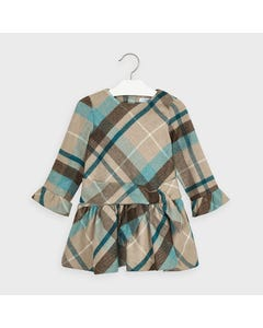 Mayoral Girls Dress Green & Tan & Lurex Plaid Bell Sleeve Size 2-9 | Kids Dress For Girls 4969 Plaid