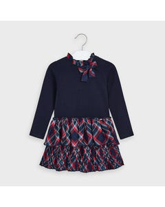 Mayoral Girls Dress Navy & Red Check Pleated Skirt Size 2-9 | Girls Party Dresses 4978 Navy