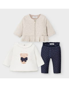 Mayoral Girls 3 Pc Pant Set Beige Cardigan Navy Pant Gold Dot Print Size 3m-18m | Two Piece Sets For Babies 2645 Beige