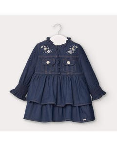 Mayoral Girls Dress Denim Silver Embroidery Trim With Flounce Size 6m-36m | Infant Dresses 2962 Denim