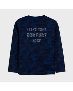Nukutavake Boys Tshirt Blue Camouflage Long Sleeve Size 8-18 | Boys Designer Shirts 7046 Blue
