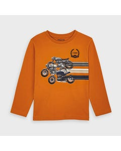 Mayoral Boys Tshirt Orange Motorcycle Print Long Sleeve Size 2-9 | Boys Shirts 4038 Orange