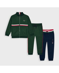 Mayoral Boys 3 Pc Tracksuit Green & Navy Pant Red & White Stripe Size 2-9 | Boys 2 Piece Outfits 4815 Green