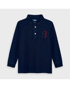 Mayoral Boys Polo Top Navy Denim Look Elbow Patch . 8 Crest Size 2-9 | Baby Boy Shirts 4133 Navy